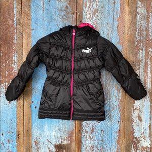 Puma Girls Black Puffer Jacket size 6